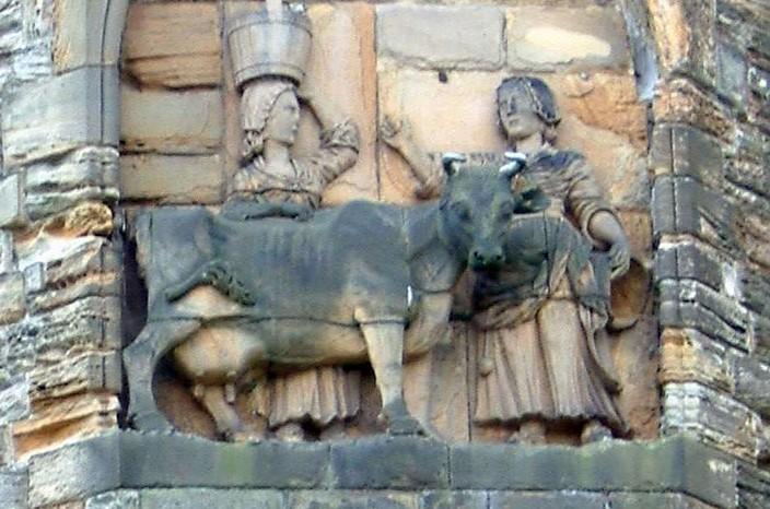 dun cow bas relief